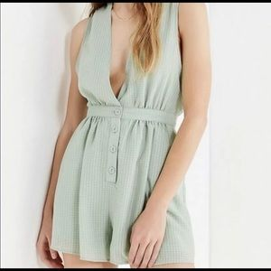 Green plaid romper urban outfitters